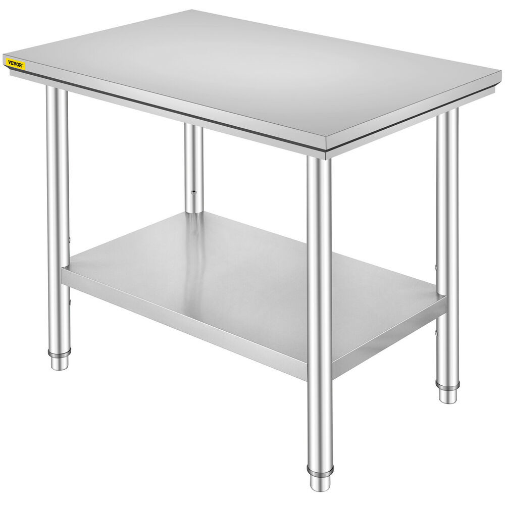 Details about stainless steel work bench table 24 x 36 commercial kitchen catering shelf