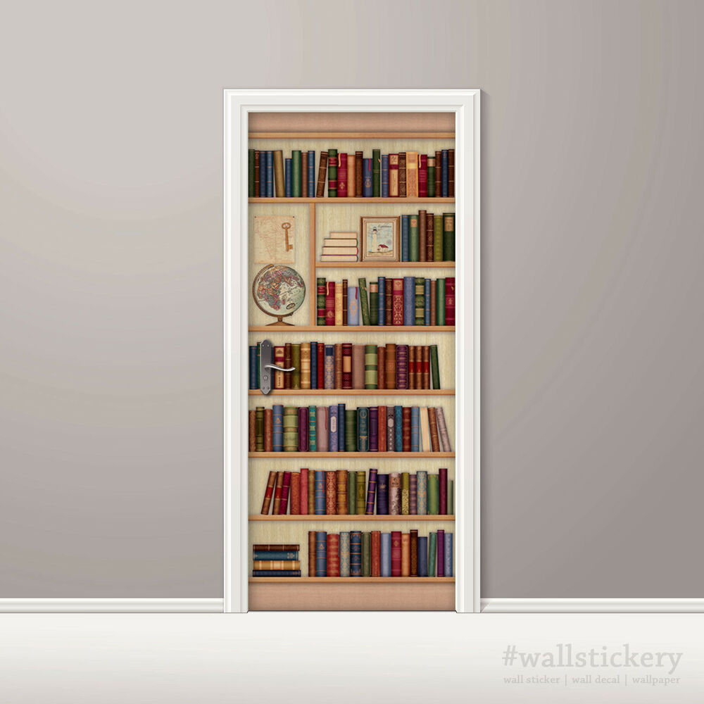 Bookshelf wallpaper door mural art globe photo poster wall for Bookshelf wall mural