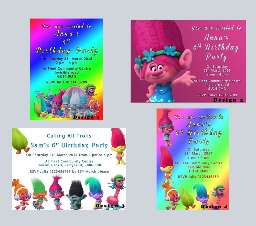 boys party invitations cards stationery trolls personalised party birthday invitations invites boys girls kids proof