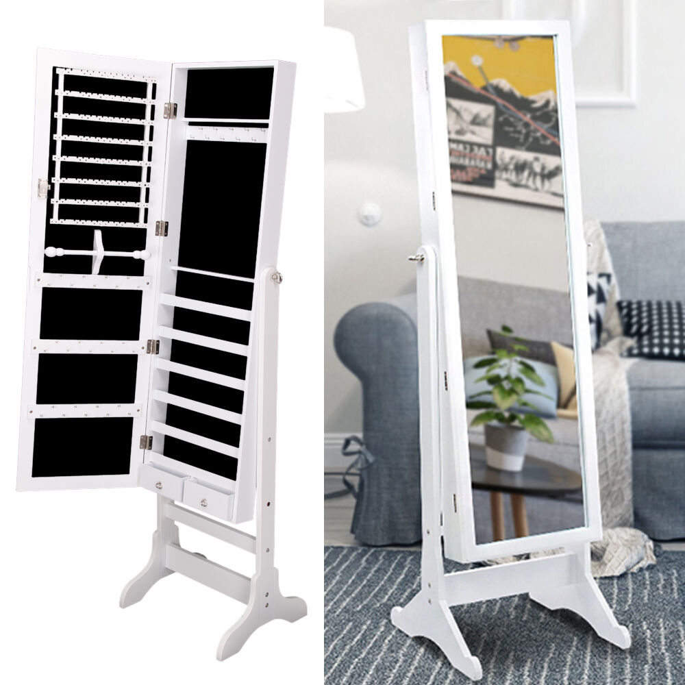 White jewellery cabinet mirror floor free standing bedroom for Standing mirror for bedroom