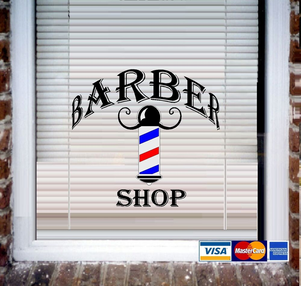 Barber shop wall decal or store front window decal ebay - Wall decor stickers online shopping ...