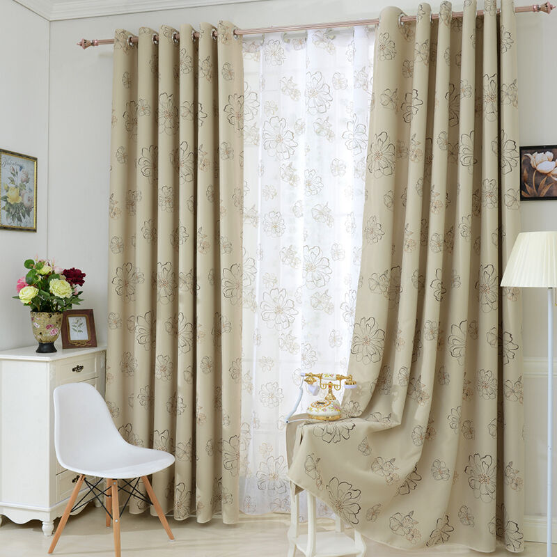 flower solid thermal insulated blackout window curtain. Black Bedroom Furniture Sets. Home Design Ideas