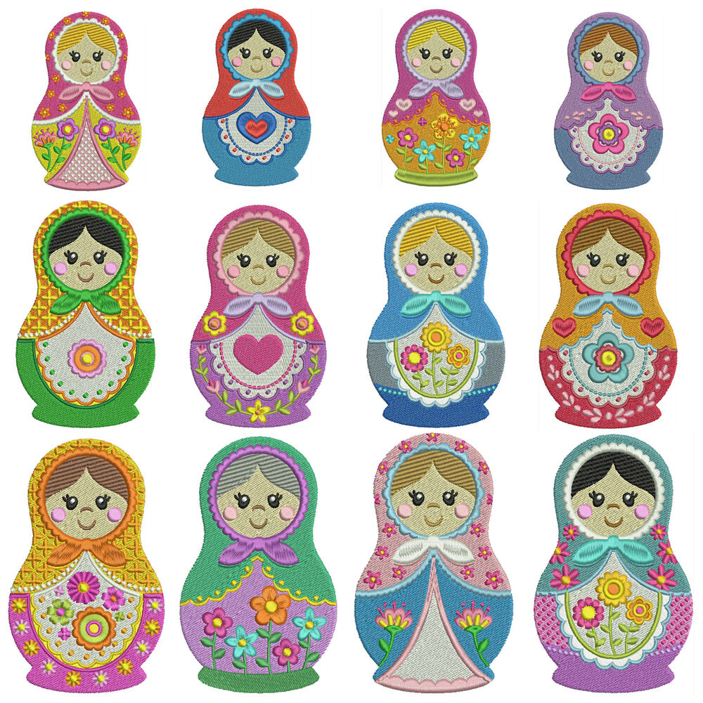 * RUSSIAN DOLLS * Machine Embroidery Patterns ** 12 Designs In 3 Sizes | EBay