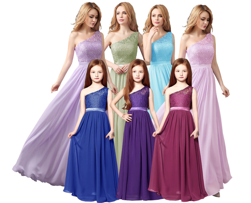 Long Chiffion Lace top Adult/Junior Bridesmaid Evening Wedding Party ...