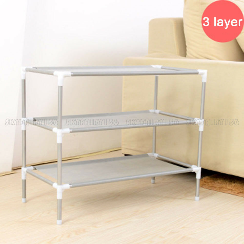 3 tier space saving storage organizer shoes tower rack shoe shelf free standing ebay - Shoe racks for small spaces collection ...