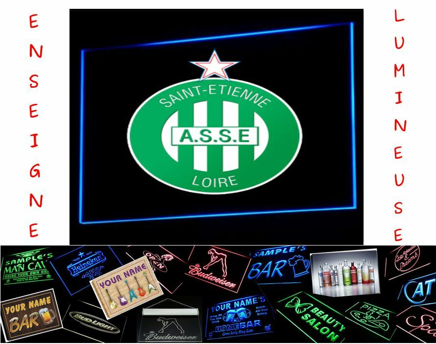 panneau lumineux logo football asse saint etienne pub led enseigne maillot lampe ebay. Black Bedroom Furniture Sets. Home Design Ideas
