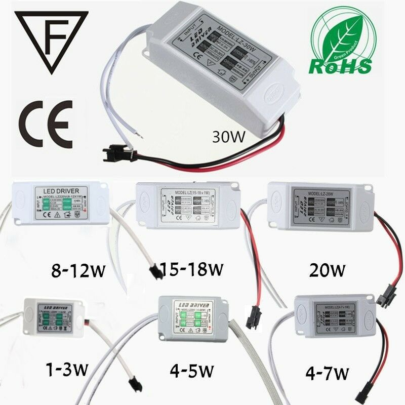 power supply driver for led light lamp bulb 1 3w 5w 10w 20w 30w 85 265v 300ma us ebay. Black Bedroom Furniture Sets. Home Design Ideas