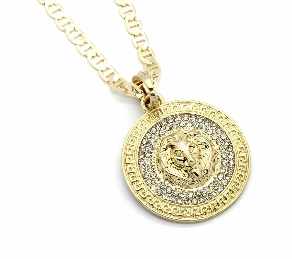 "Mens Medallion Patern Lion Gold Plated 24"" Gucci Chain ..."