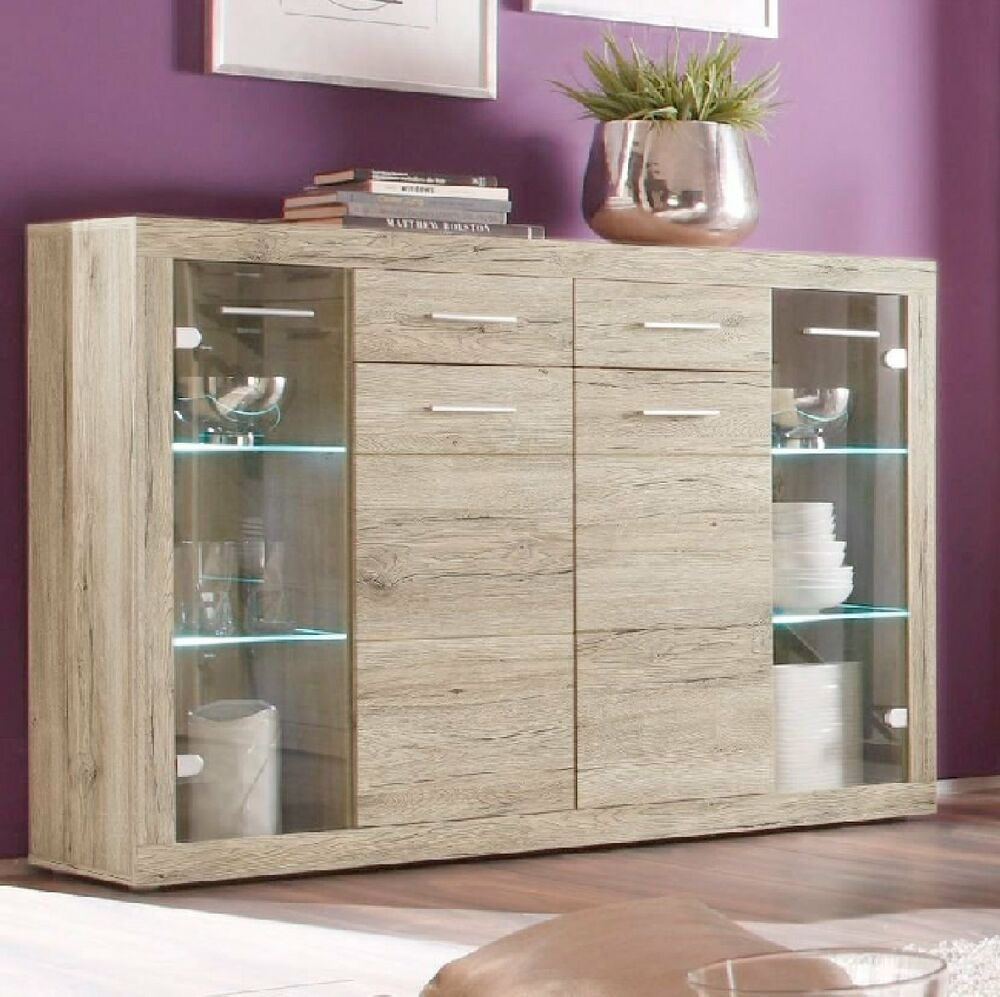 highboard sideboard vitrine can can san remo eiche hell wohnzimmer neu 161301 ebay. Black Bedroom Furniture Sets. Home Design Ideas