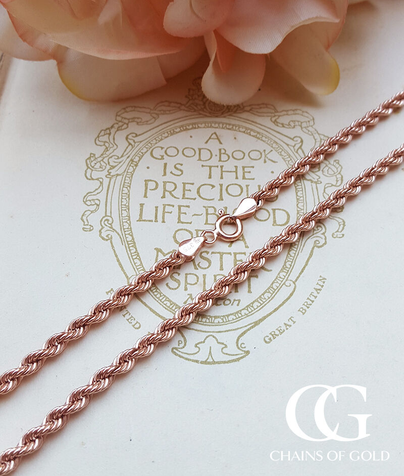 Men's Ladies 9ct Rose Gold Diamond Cut 3.2mm Rope Chain ...