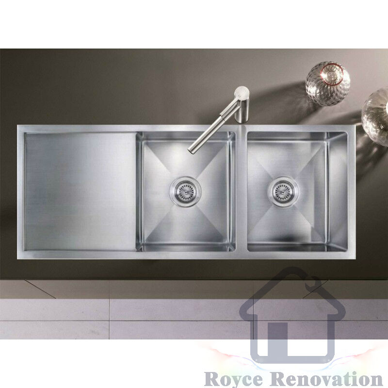 Double Bowl Laundry Sink : Double Bowl Handmade Under-mount / Top-mount Kitchen Laundry Sink With ...