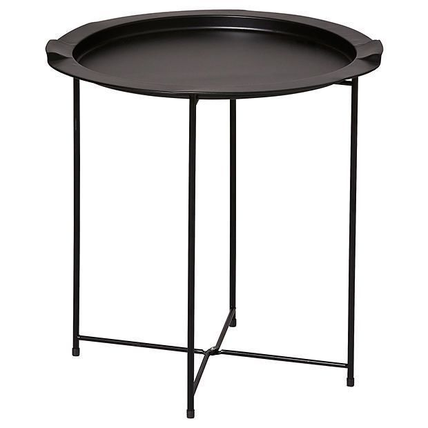 new metal folding side table black ebay. Black Bedroom Furniture Sets. Home Design Ideas
