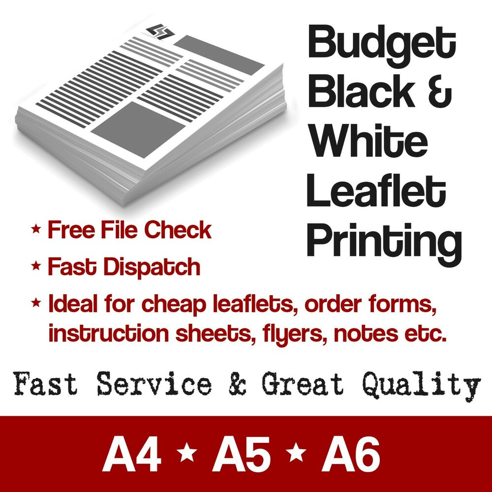 cheap black white budget printing leaflet order forms flyers white a4 a5 ebay. Black Bedroom Furniture Sets. Home Design Ideas