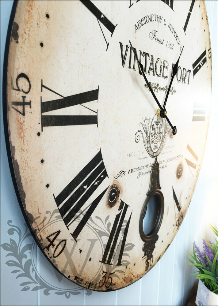 New 60cm Large Antique Wooden Round Wall Clock Vintage