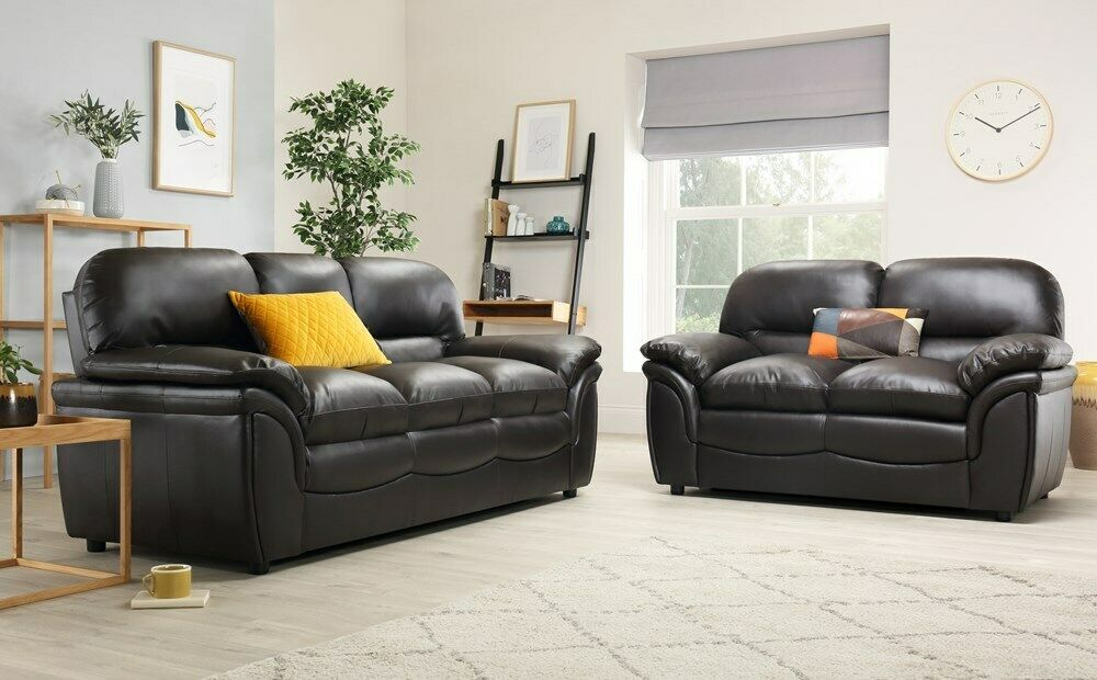 ROCHESTER Brown Leather Sofa Sofas Group Settee Unit Range