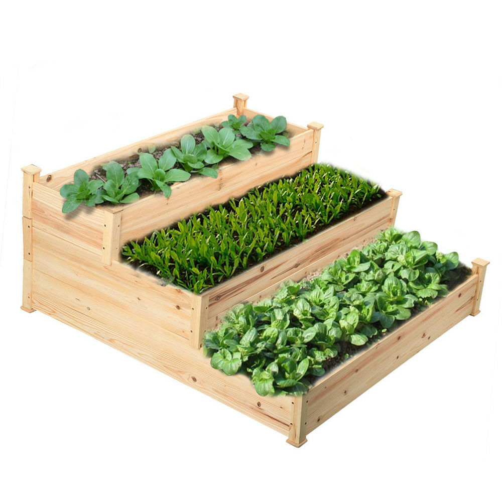 Wooden raised vegetable garden bed 3 tier elevated planter for Raised bed garden kits