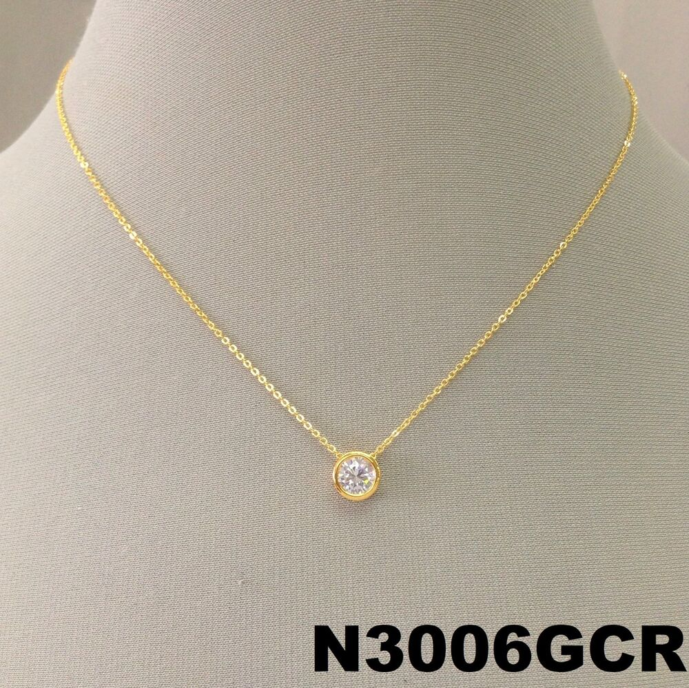 Simple Gold Dainty Chain Cubic Zirconia Stone Pendant