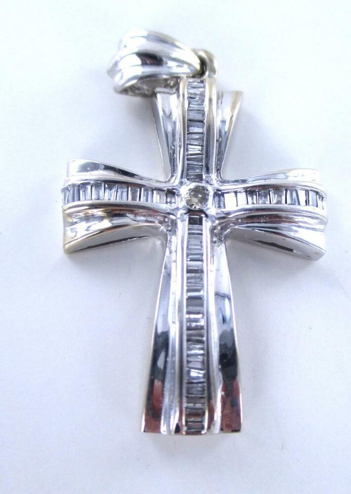 14kt white gold pendant cross fine jewelry 49 diamond 1 5 for Fine jewelry diamond pendants