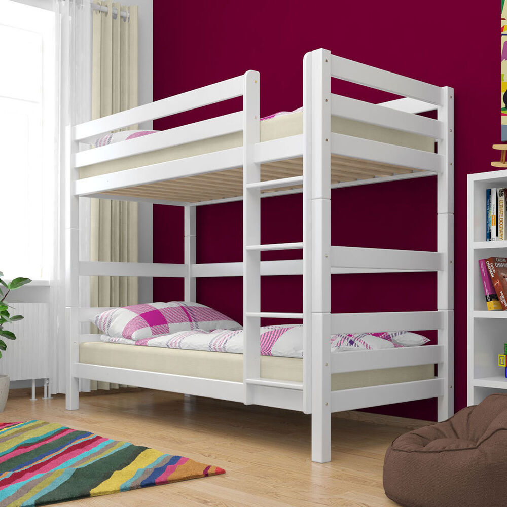 etagenbett stockbett wei buche massiv kinderbett hochbett doppelstockbett neu ebay. Black Bedroom Furniture Sets. Home Design Ideas