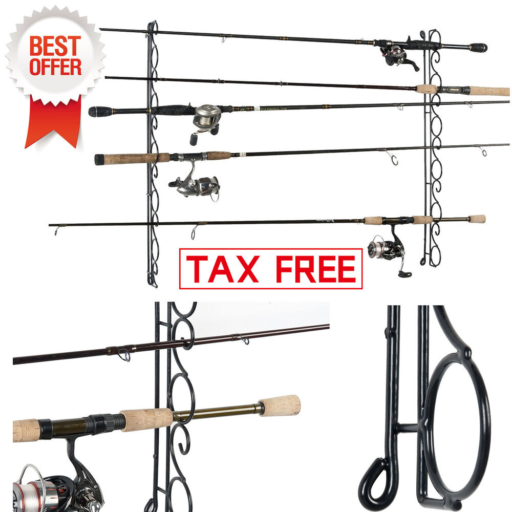 Organized Fishing Rod Rack Ceiling Mount Pole Reel Holder