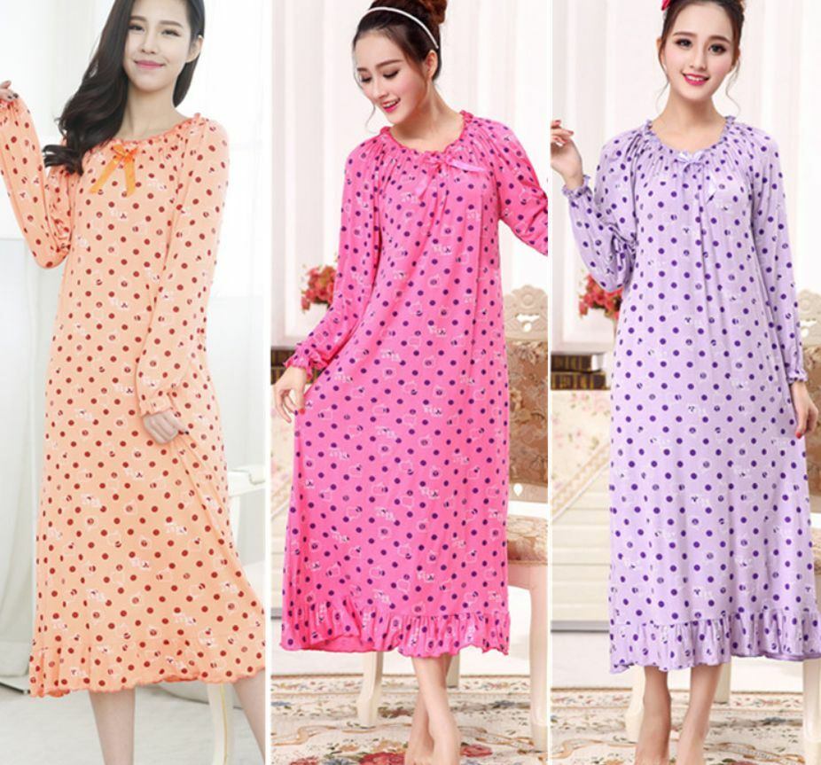Long sleeve women cotton sleepwear pajamas nightgown Long cotton sleep shirts