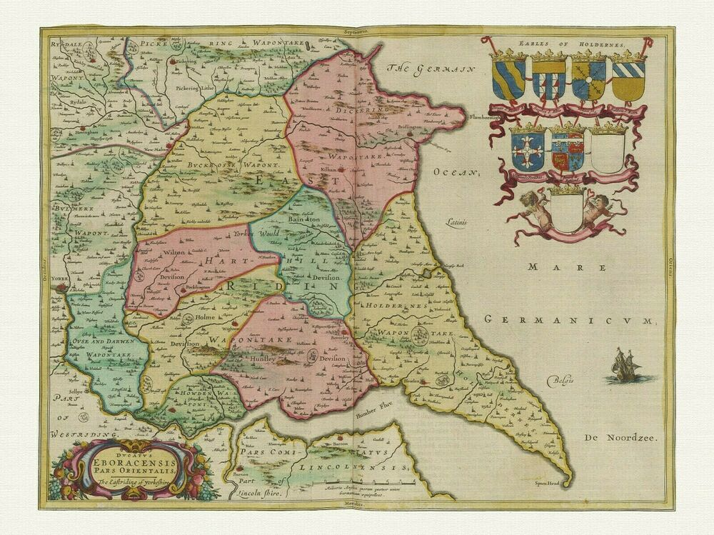 Old Vintage East Riding Of Yorkshire England Decorative Map Blaeu Ca