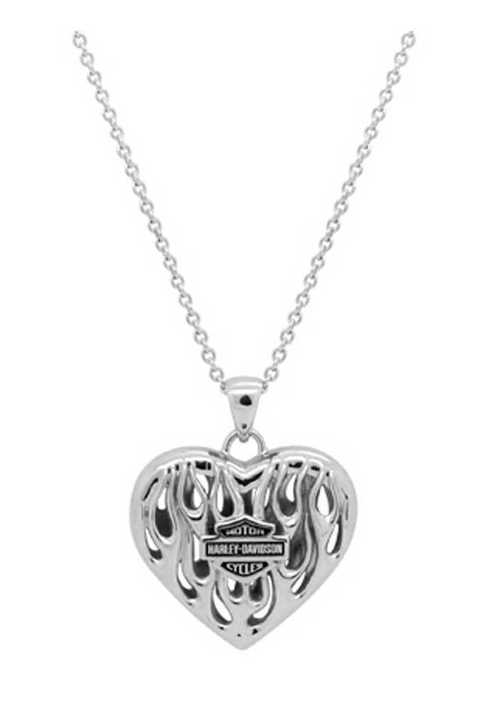 Harley davidson women 39 s flames bar shield heart necklace for Harley davidson jewelry ebay