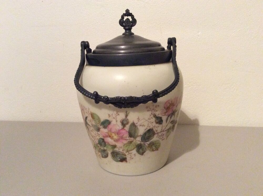 Antique Biscuit Jar Quadruple Silver Plate Van Bergh Lid