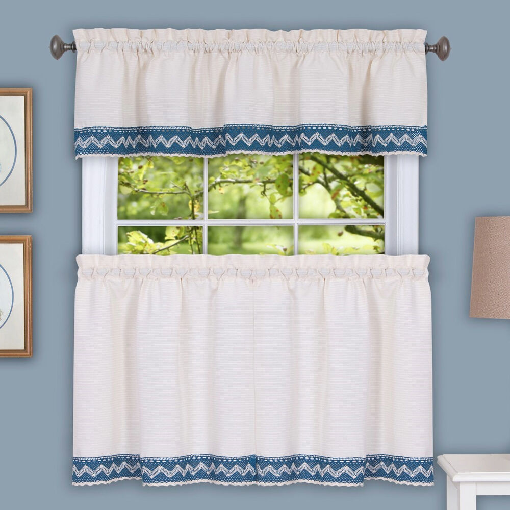 Camden Macrame Trimmed Beige & Blue Kitchen Window Curtain
