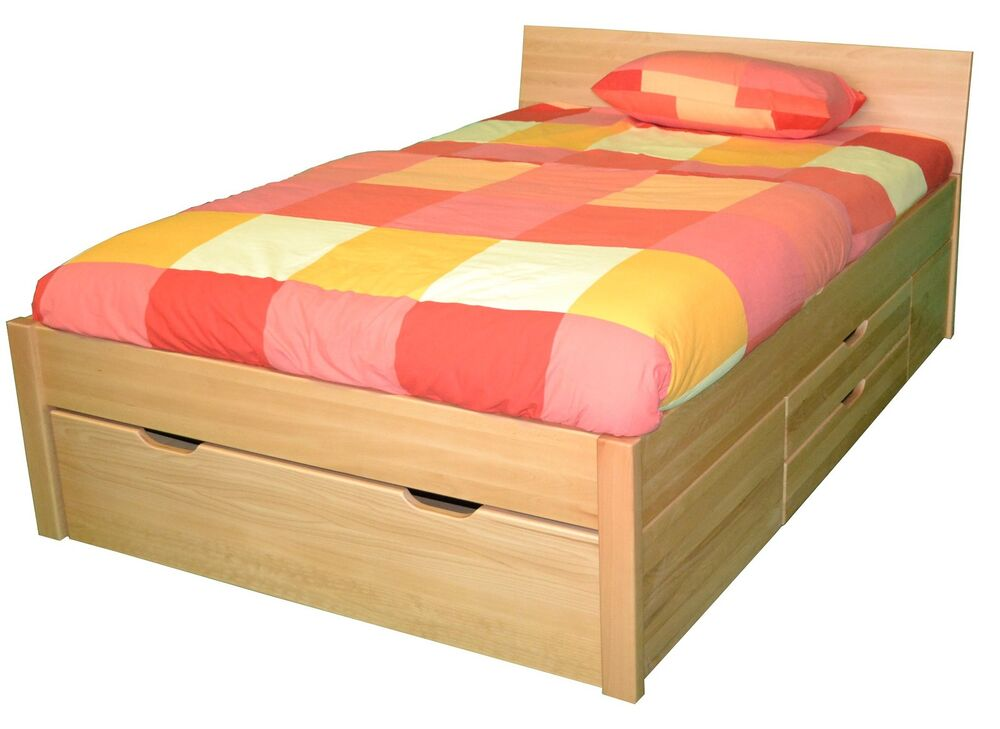 bett buche 120x200 schubladenbett funktionsbett ebay. Black Bedroom Furniture Sets. Home Design Ideas