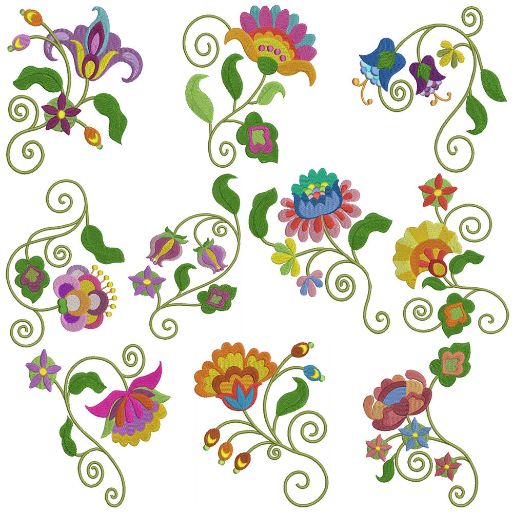 Jaco flowers machine embroidery patterns designs