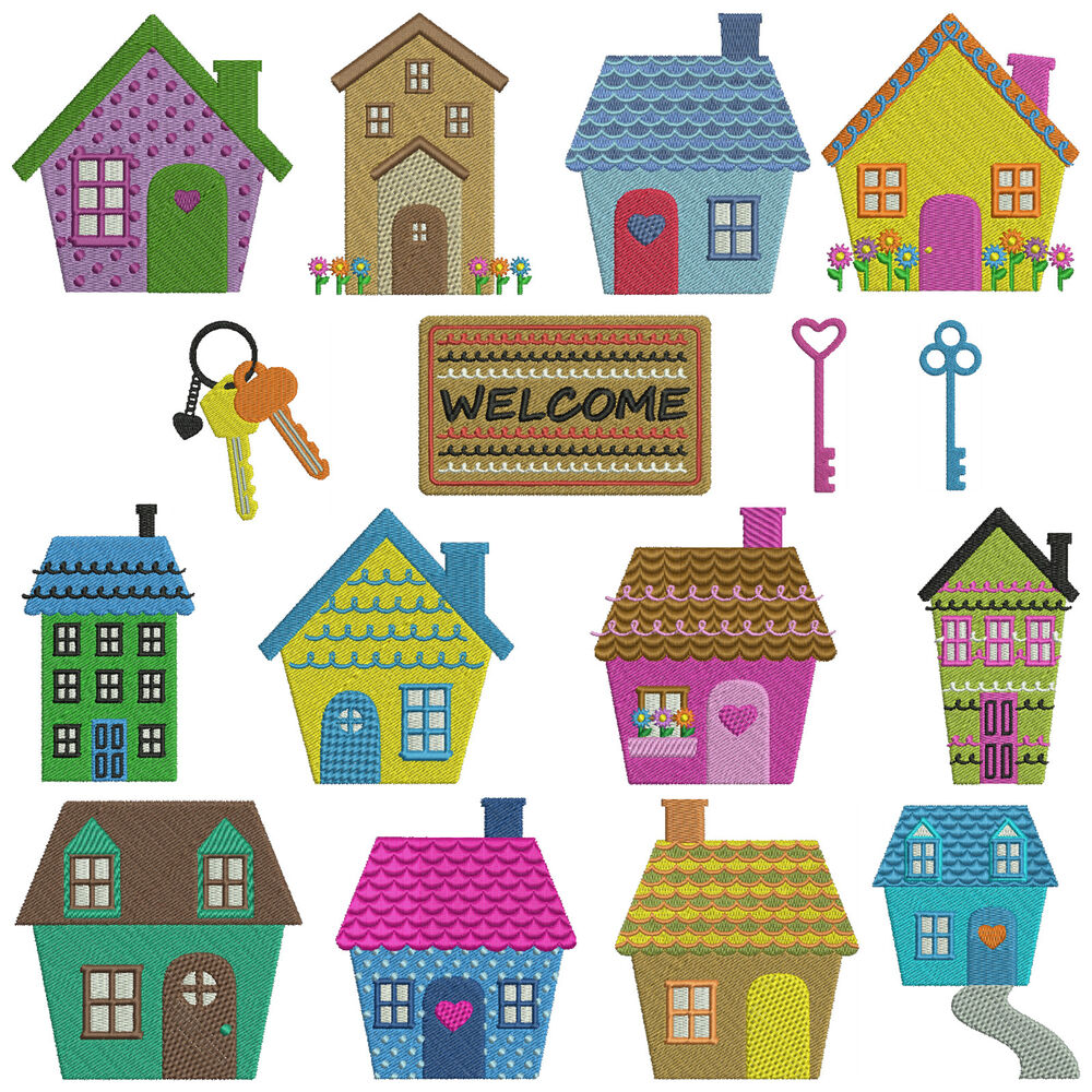 Home Sweet Home Machine Embroidery Patterns 16 Designs 2 Sizes Ebay