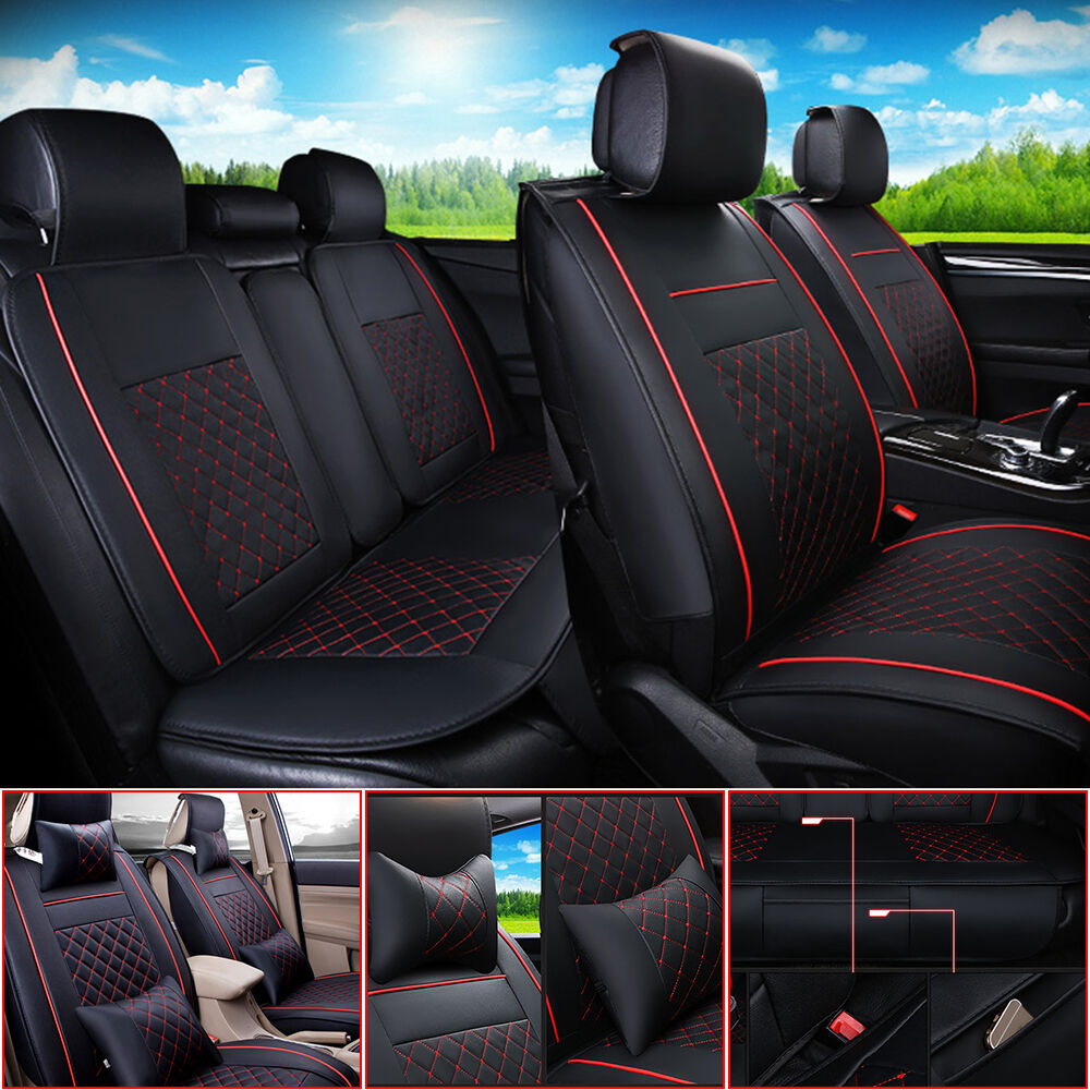 pu leather auto car seat cover front rear black red all season size s m l ebay. Black Bedroom Furniture Sets. Home Design Ideas