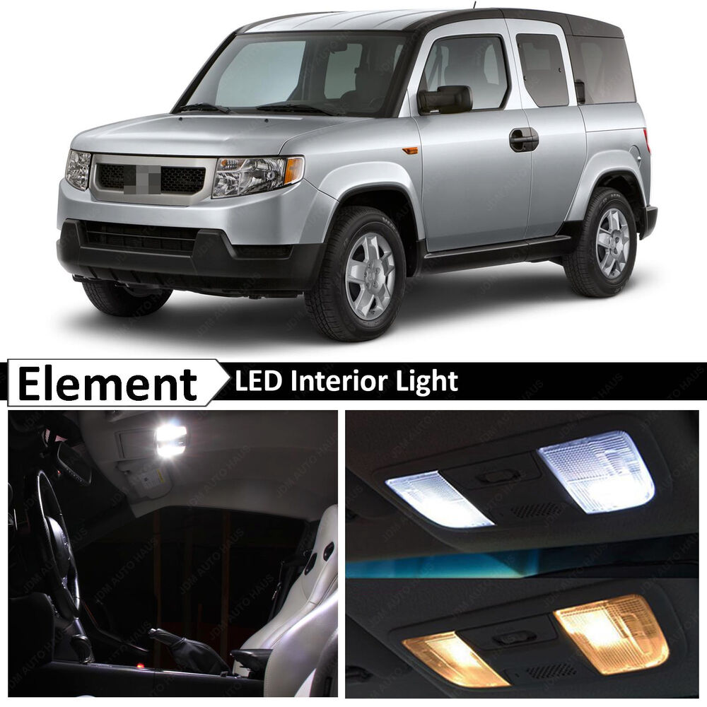 10x white interior led lights package kit 2003 2011 honda element ebay. Black Bedroom Furniture Sets. Home Design Ideas