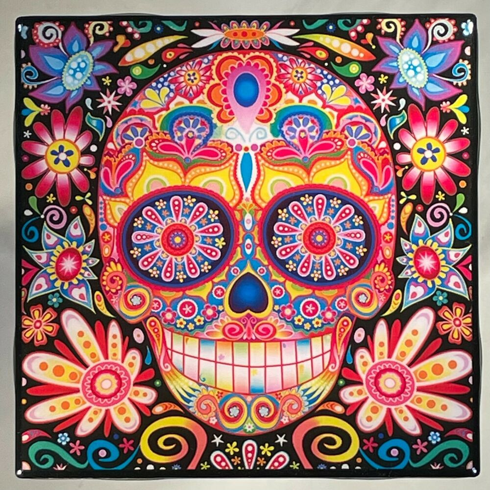 Day Of The Dead Coaster Ceramic Tile Skull Flowers Mexican