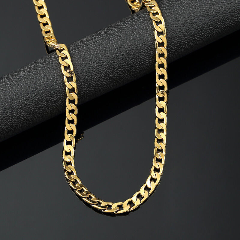 Mens 18K Yellow Gold Plated 24in Cuban Chain Necklace 4.7 MM | eBay