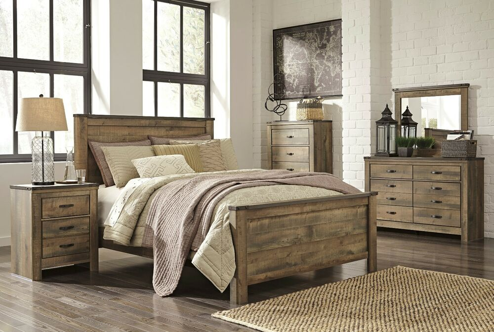 Ashley trinell queen rustic 6 piece bed set furniture b446 for Bed set queen furniture