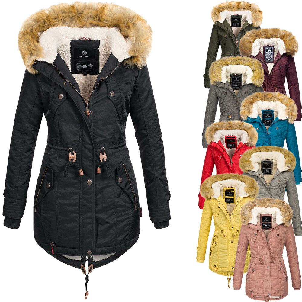 navahoo warme damen winter jacke teddyfell winterjacke parka mantel b399 ebay. Black Bedroom Furniture Sets. Home Design Ideas
