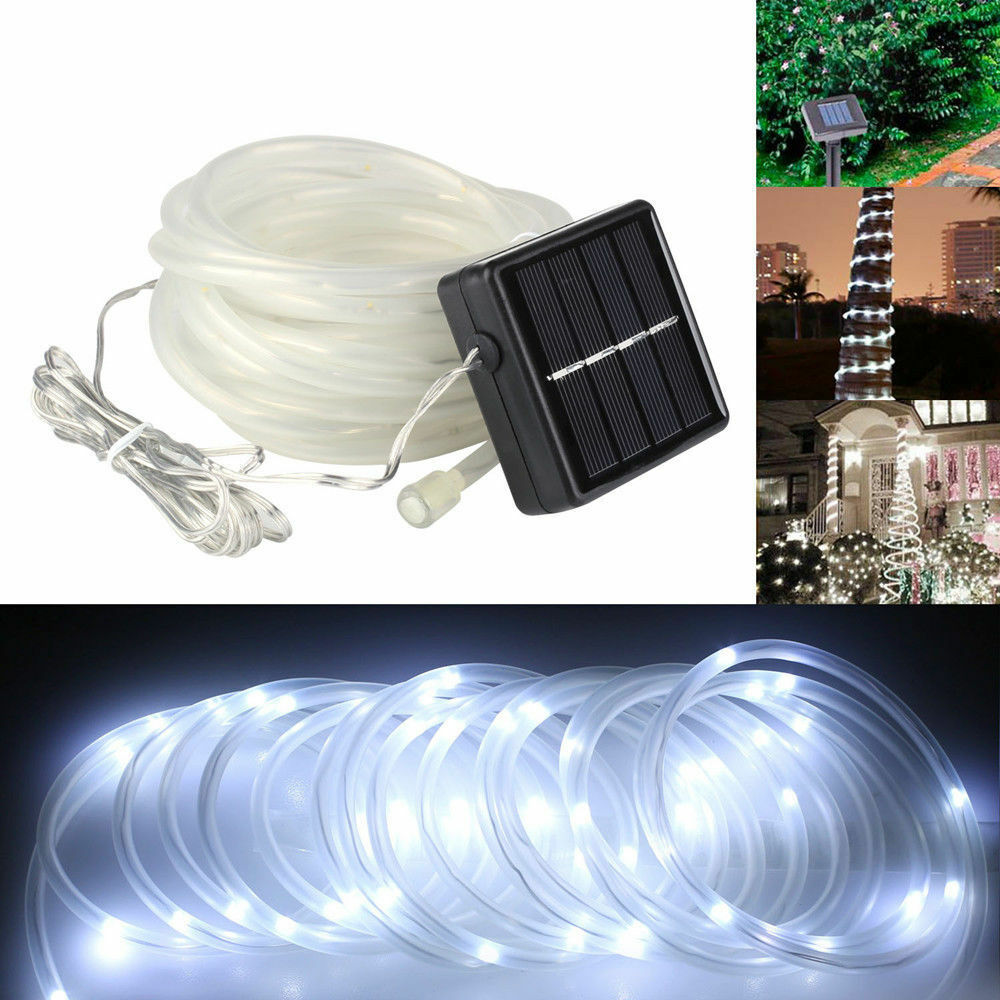 5m 50 Led Solar Power Rope Tube Lights Strip Light Sensor