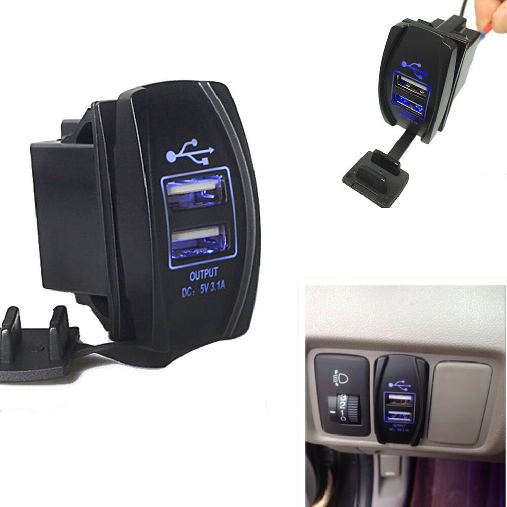 Dual Usb Power Charger Carling Arb Rocker Switch Blue Led