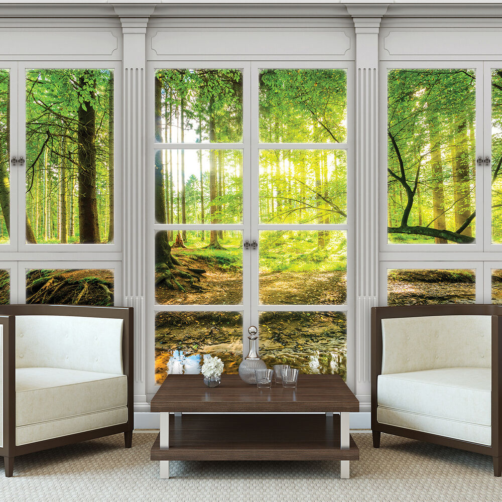 poster tapeten fototapete wand bild ausblick fenster natur wald baum 10637 p4 ebay. Black Bedroom Furniture Sets. Home Design Ideas