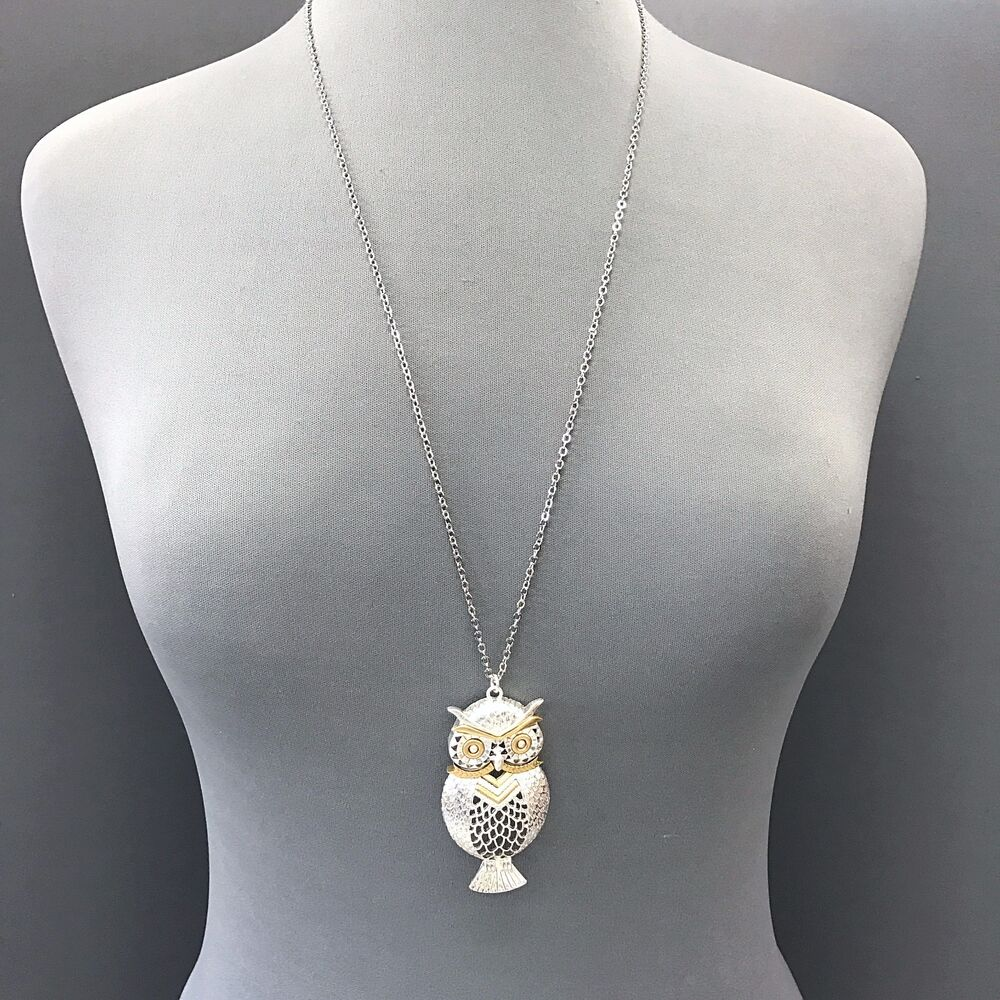 Fashionable Long Simple Silver Chain Owl Design Pendant ...