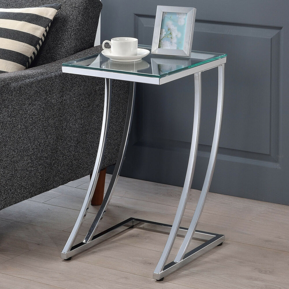 Modern design tempered glass top chrome metal base accent Modern side table