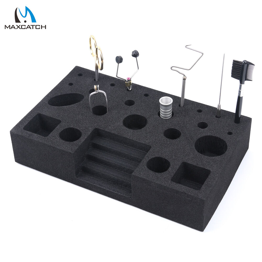 Fly tying tool caddy black foam vise clamp tool holder for Fishing tool holder