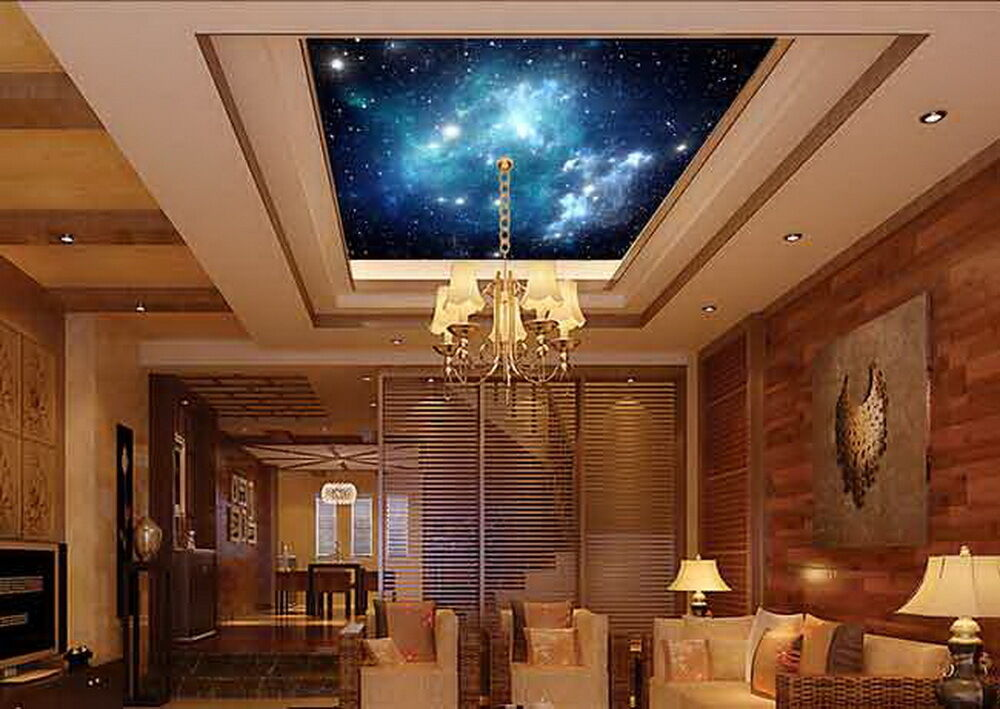3d starry sky galaxy space wallpaper ceiling decals wall art print ebay. Black Bedroom Furniture Sets. Home Design Ideas