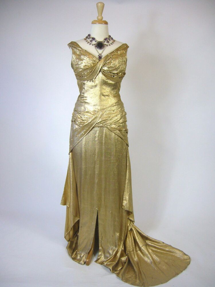 1940s Hollywood Evening Gowns: SPECTACULAR 1940s Hollywood Glamour Silk Luxurious Gold