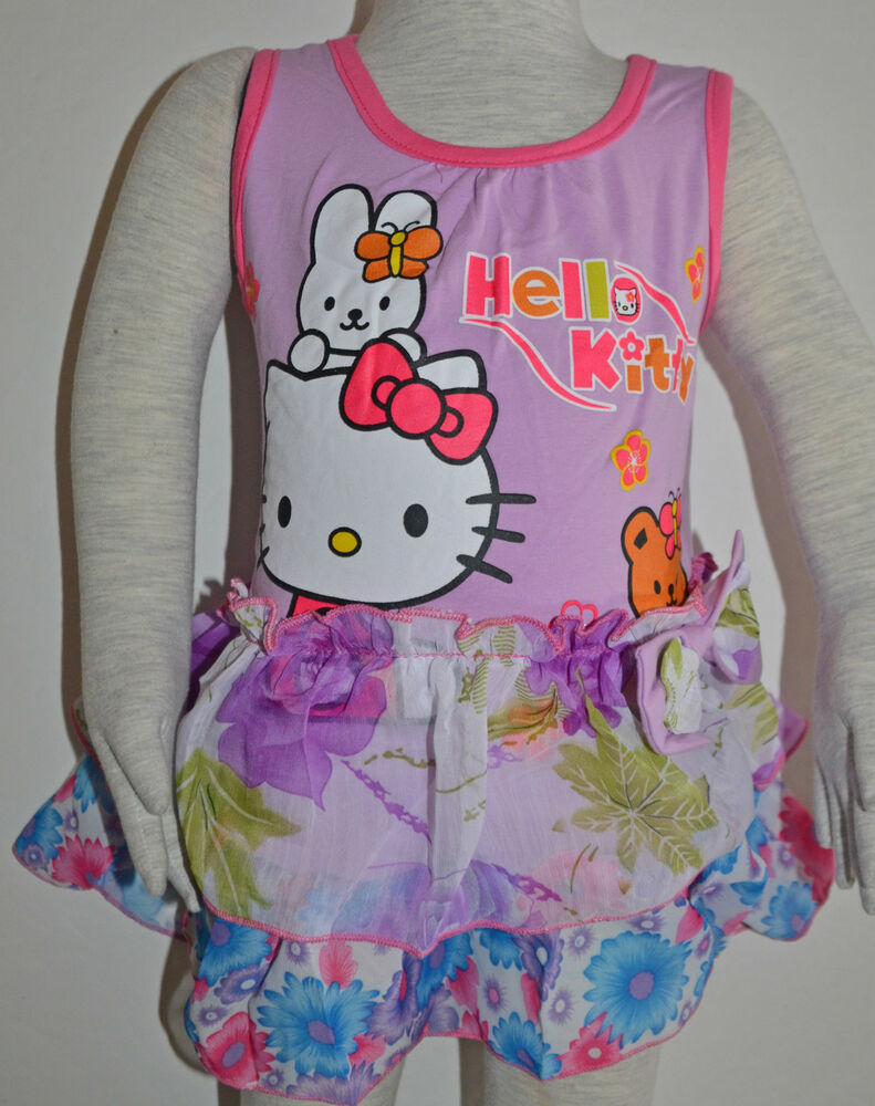 new girls hello kitty dress purple size 1 2 3 4 5 6 ebay. Black Bedroom Furniture Sets. Home Design Ideas