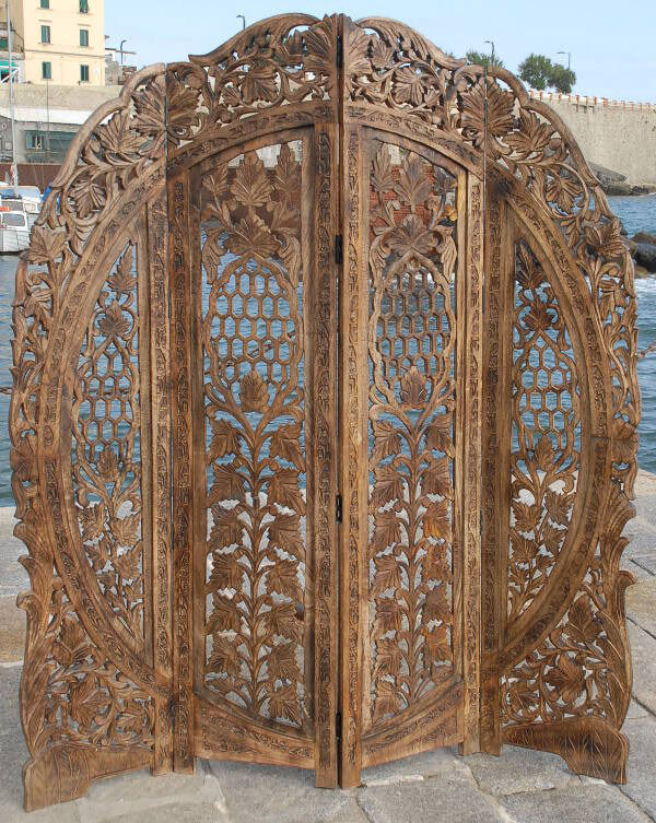 Wood Screens Room Dividers ~ Paravent panel indian hand carved wooden screen room