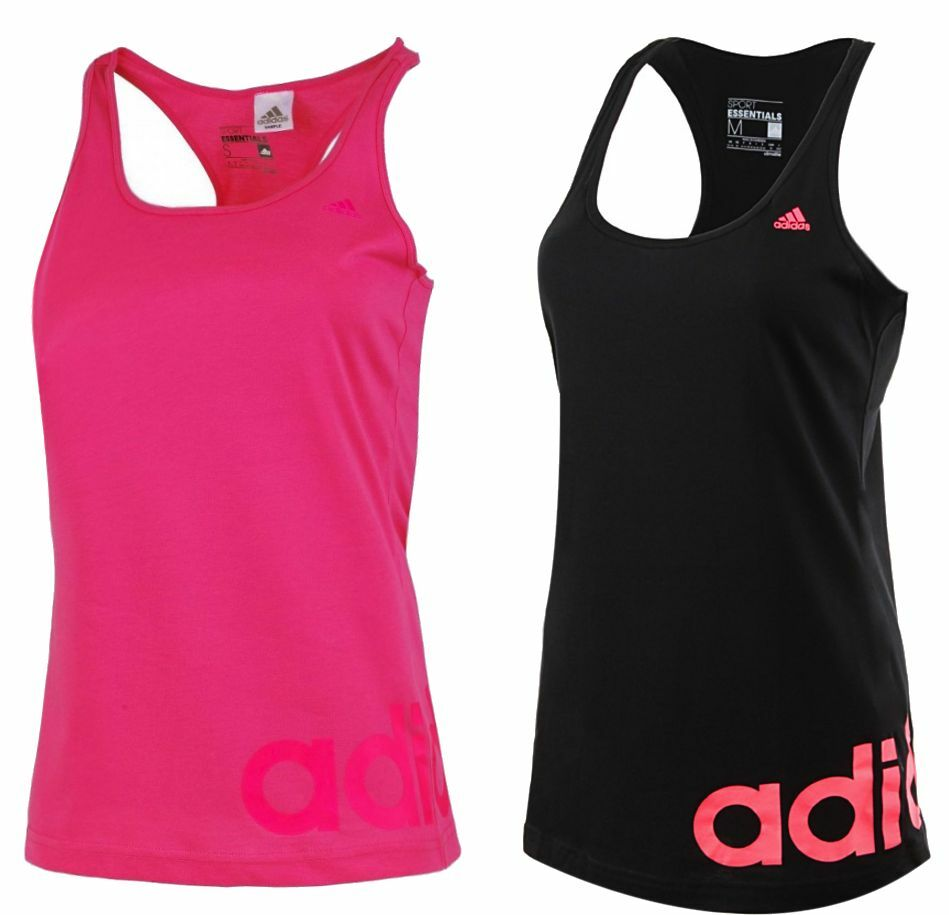 170347084150 Adidas Ladies Womens Workout Vest Tank Top Black Pink Gym Training Fitness  New