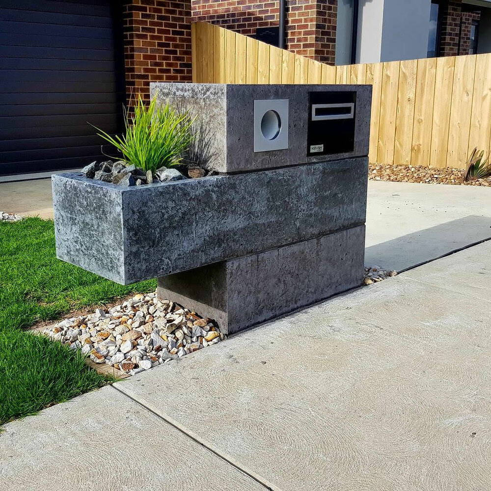 Concrete Charcoal Letterbox Hand Made, Custom Bespoke